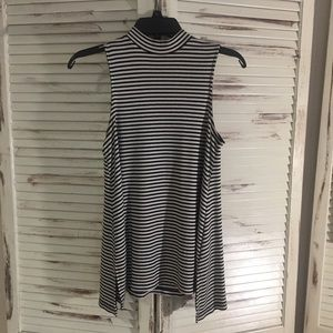 Tops - Black and White Striped Tank